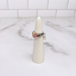 Jewelry - Gold plated white & gold ring w/ pink cz stone